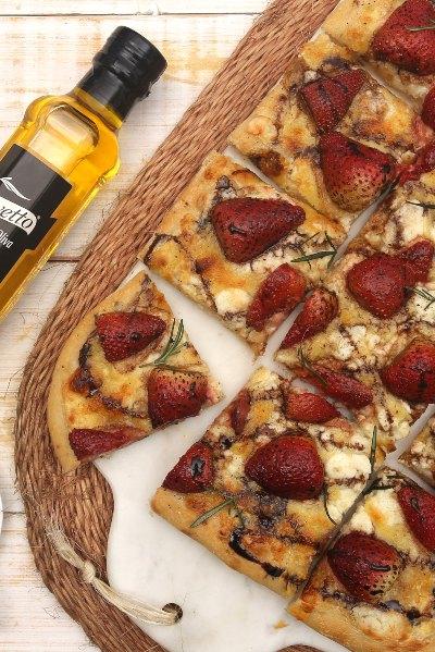Pizza balsámica de fressa con aceite de oliva Olivetto frutado